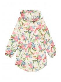 Older Girls White Floral Shower Resistant Cagoule