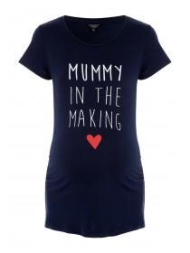 Maternity Navy Slogan T-Shirt