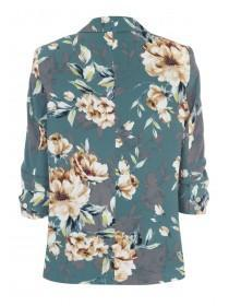 Womens Teal Floral Blazer