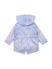 Baby Girls Light Blue Floral Cagoule Jacket