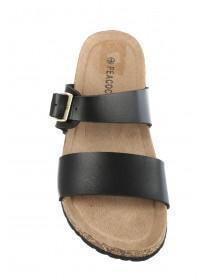 Womens Black Double Band Sandals