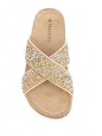 Womens Gold Cross Strap Sandals