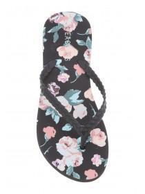 Womens Black Floral Flip Flops