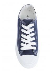 Womens Navy Lace Up Trainers