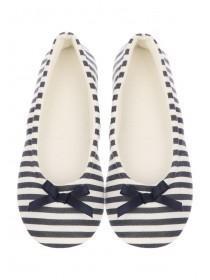Womens Navy Stripe Ballet Slippers