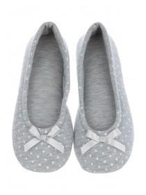 Womens Grey Star Ballet Slippers