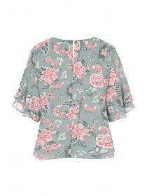 Womens Green Floral Frill Sleeve Top