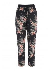 Womens Black Floral Trousers