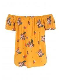Womens Mustard Floral Bardot Top