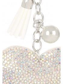 White Heart Diamante Keyring