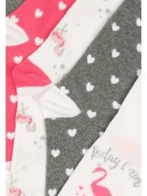 Womens 5pk White Design Socks