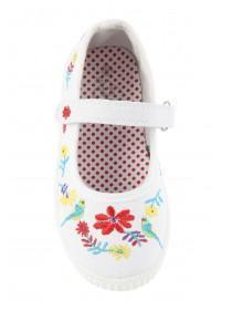 Younger Girls White Embroidered Mary Jane Shoes
