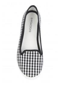 Womens Monochrome Gingham Slip On Trainers