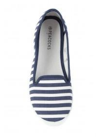 Womens Blue Stripe Slip On Trainers