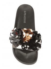 Womens Black Flower Slider Sandals