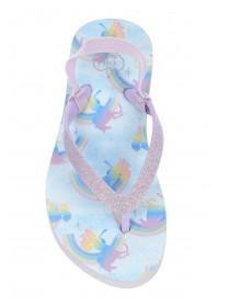Younger Girls White Unicorn Flip Flops