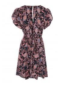 Womens Black Paisley Tulip Sleeve Tea Dress