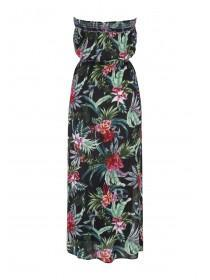 Womens Black Tropical Print Maxi Dress