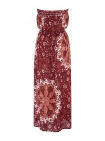 Womens Burgundy Bandeau Maxi Dress