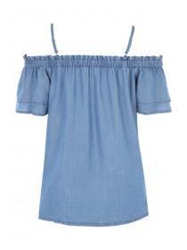 Womens Blue Tencel Cold Shoulder Top