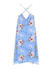 Womens Blue Floral Hanky Hem Dress