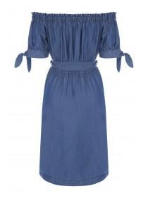 Womens Blue Bardot Belted Dress
