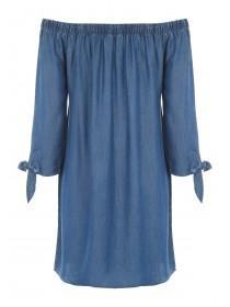 Womens Blue Bardot Dress