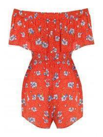 Womens Red Floral Bardot Playsuit