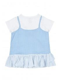 Younger Girls Blue Stripe 2 In 1 Top
