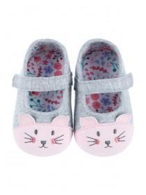 Baby Girls Grey Bunny Shoes
