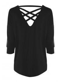Womens Black Lattice Back T-Shirt