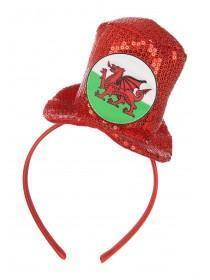 Girls Red Welsh Top Hat Hairband