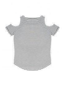 Older Girls Monochrome Stripe Slogan T-Shirt