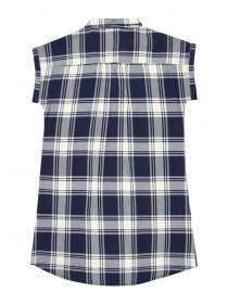 Older Girls Blue Check Long Line Shirt