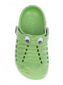 Boys Green Crocodile Clog Sandals