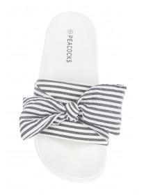 Womens Blue Stripe Bow Slider Sandals