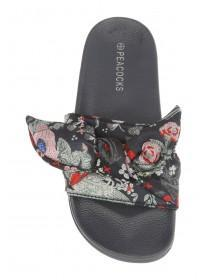 Womens Black Floral Bow Slider Sandals
