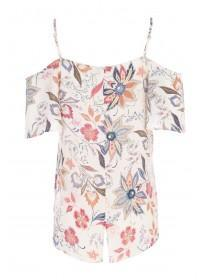 Womens Cream Floral Cold Shoulder Top