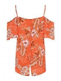 Womens Orange Floral Cold Shoulder Top