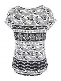 Womens Monochrome Floral Paisley Top