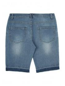 Older Girls Blue Let Down Hem Shorts