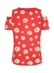 Womens Red Floral Cold Shoulder Top