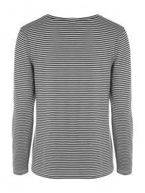 Womens Black Stripe Front Knot Top