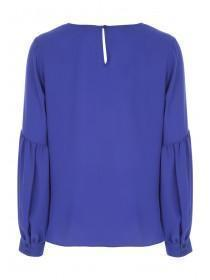 Womens Blue Long Sleeve Blouse