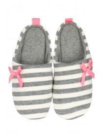Womens Grey Striped Mule Slippers