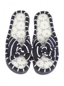 Womens Blue Stripe Comfort Slippers