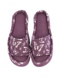 Womens Wine Butterfly Comfort Slippers