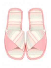Womens Pink Stripe Spa Slipper