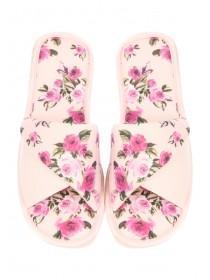 Womens Pink Rose Spa Slipper