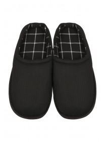Mens Black Cord Mule Slippers